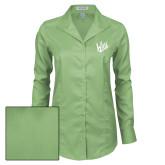 Ladies Red House Green Herringbone Non Iron Long Sleeve Shirt-Primary Mark