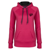 Ladies Pink Raspberry Tech Fleece Hooded Sweatshirt-Primary Mark