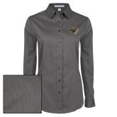 Ladies Grey Tonal Pattern Long Sleeve Shirt-Iowa Wild w Bear Head