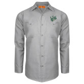 Red Kap Light Grey Long Sleeve Industrial Work Shirt-Primary Mark
