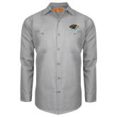 Red Kap Light Grey Long Sleeve Industrial Work Shirt-Iowa Wild w Bear Head