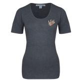 Ladies Charcoal Heather Scoop Neck Sweater-Primary Mark