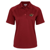 Ladies Cardinal Textured Saddle Shoulder Polo-Iowa Wild w Bear Head