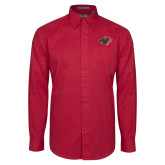 Cardinal Twill Button Down Long Sleeve-Iowa Wild w Bear Head