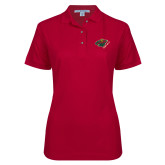 Ladies Easycare Cardinal Pique Polo-Iowa Wild w Bear Head