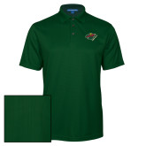 Dark Green Performance Fine Jacquard Polo-Iowa Wild w Bear Head