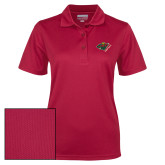 Ladies Cardinal Dry Mesh Polo-Iowa Wild w Bear Head