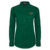 Ladies Dark Green Twill Button Down Long Sleeve-Iowa Wild w Bear Head