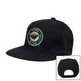 Black Flat Bill Snapback Hat-Secondary Mark