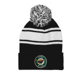 Black/White Two Tone Knit Pom Beanie with Cuff-Secondary Mark