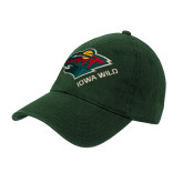 Dark Green Twill Unstructured Low Profile Hat-Iowa Wild w Bear Head