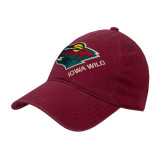 Cardinal Twill Unstructured Low Profile Hat-Iowa Wild w Bear Head