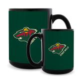 Full Color Black Mug 15oz-Iowa Wild w Bear Head