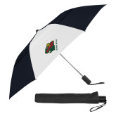 42 Inch Slim Stick Black/White Vented Umbrella-Iowa Wild w Bear Head
