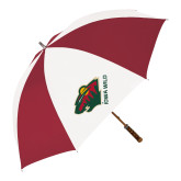 62 Inch Cardinal/White Umbrella-Iowa Wild w Bear Head