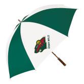 62 Inch Forest Green/White Umbrella-Iowa Wild w Bear Head