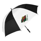 62 Inch Black/White Vented Umbrella-Iowa Wild w Bear Head