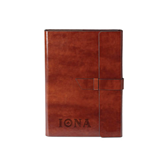Fabrizio Junior Brown Portfolio w/Loop Closure-Iona Wordmark Engraved