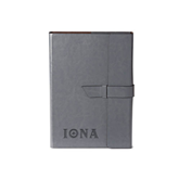 Fabrizio Junior Grey Portfolio w/Loop Closure-Iona Wordmark Engraved