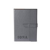Fabrizio Junior Grey Portfolio w/Loop Closure-Iona Wordmark Engraved