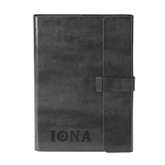 Fabrizio Black Portfolio w/Loop Closure-Iona Wordmark Engraved