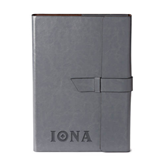 Fabrizio Grey Portfolio w/Loop Closure-Iona Wordmark Engraved