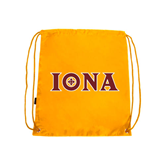 Gold Drawstring Backpack-Iona Wordmark
