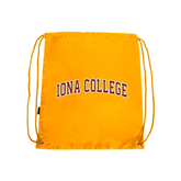 Gold Drawstring Backpack-Arched Iona College