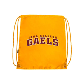 Gold Drawstring Backpack-Arched Iona College Gaels
