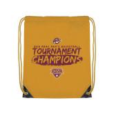 Gold Drawstring Backpack-2018 Mens Basketball Champions - Brush