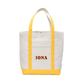 Contender White/Gold Canvas Tote-Iona Wordmark