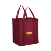 Non Woven Maroon Grocery Tote-Iona Wordmark