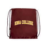 Maroon Drawstring Backpack-Arched Iona College