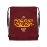 Maroon Drawstring Backpack-2018 Mens Basketball Champions - Brush