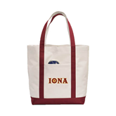 Contender White/Maroon Canvas Tote-Iona Wordmark