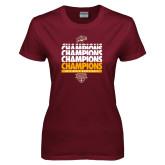 Ladies Maroon T Shirt-MAAC Mens Basketball Champs