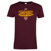 Ladies Maroon T Shirt-2018 Mens Basketball Champions - Brush