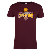 Ladies Maroon T Shirt-2018 Mens Basketball Champions - Net w/ Basketball