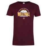 Ladies Maroon T Shirt-2018 MAAC Volleyball Champions
