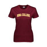 Ladies Maroon T Shirt-Arched Iona College