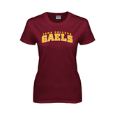 Ladies Maroon T Shirt-Arched Iona College Gaels