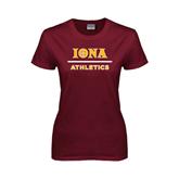 Ladies Maroon T Shirt-Athletics