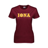Ladies Maroon T Shirt-Iona Wordmark