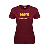 Ladies Maroon T Shirt-Baseball