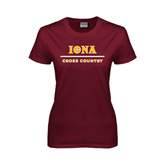 Ladies Maroon T Shirt-Cross Country