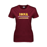 Ladies Maroon T Shirt-Lacrosse