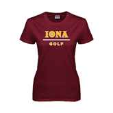 Ladies Maroon T Shirt-Golf