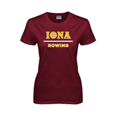 Ladies Maroon T Shirt-Rowing