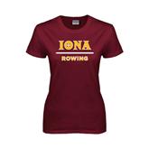 Ladies Maroon T Shirt-Rowing