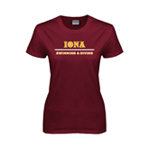 Ladies Maroon T Shirt-Swimming and Diving